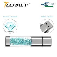 new TECHKEY Lipstick usb flash drive pen drive pendrive memory memoria cel usb stick Rhinestone gift
