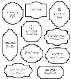 Vintage Labels Clip Art // Digital Frame // Vector EPS Editable // DIY Cards Invitation // Printable // Instant Download // Black White