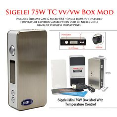 Sigelei 75W TC Temperature Control VV/VW Mod • (Brushed stainless with – Victory Vape