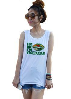 ffb6bf026 Kiss me I'm Vegetarian no meat vegan Fashion women by dazztees, $14.99