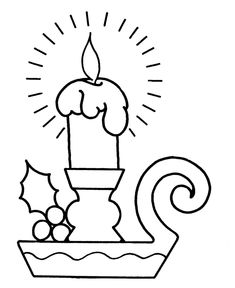 big pre k christmas candle coloring page can be used as paper piecing for