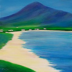 Evocative oil painting of Achill Island, at the heart of the Wild Atlantic Way, on the west coast of Ireland. The Island is one of the most ruggedly beautiful and scenic areas in the country. The painting captures a bright sunny day at a wonderful sandy beach on Achill, with the dramatic backdrop of the Slievemore, which literally translates as 'Big Mountain'. It is easy to see why the Island has captured the imagination of so many over the years