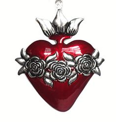 tin heart with roses