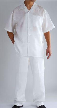 White Daniel Ellissa Men's 2pc 100% Linen Shirt and Pant Set | Product ID: LS3864 $ 39.95 CCO