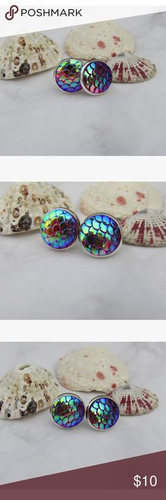 ✨Red Mermaid Scale Earrings Beautiful color! These stud earrings feature red mermaid scales that pick up other colors with a silver setting. No trades, bundle to save. Jewelry Earrings