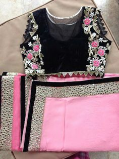 Black with pink flower embroidery. get it at myTailor. Saree Blouse Patterns, Saree Blouse Designs, Saree Styles, Blouse Styles, Indian Dresses, Indian Outfits, Simple Sarees, Collor, Elegant Saree