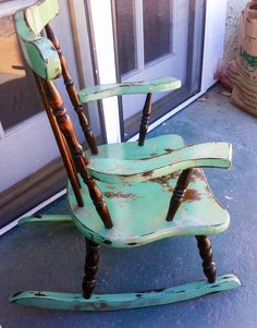 Brushed by Brandy Custom Painted Furniture Business Story – Sacramento CA - New ideas Shabby Chic Rocking Chair, Painted Rocking Chairs, Rocking Chair Makeover, Childs Rocking Chair, Furniture Makeover, Diy Furniture, Rustic Furniture, Upcycled Furniture Before And After, Antique Chairs