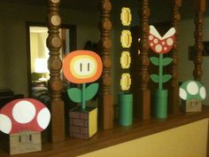 My 3 year old wants a Mario themed party for her birthday this year (parental win). My awesome wife hand made these centerpieces and mushroom gift bags using construction paper. 3 Year Old Birthday Party Boy, Mario Birthday Cake, Super Mario Birthday, Super Mario Party, 7th Birthday, 40th Party Decorations, Party Themes, Ideas Decoracion Cumpleaños, Mario Bros.