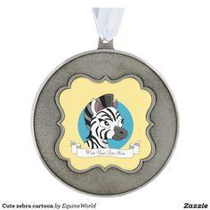 Cute zebra cartoon scalloped pewter christmas ornament