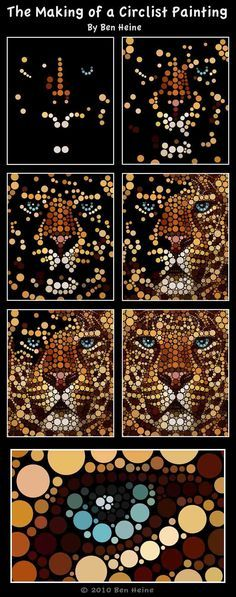 Art Made Entirely of Circles by Ben Heine «TwistedSifter   zentangle  lion pointilism