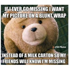 If I ever go missing, I want my picture on a blunt wrap instead of a milk carton so my friends will know I'm missing. Weed Memes, Dankest Memes, Funny Memes, Jokes, 420 Memes, Abc Do Amor, Stoner Meme, Puff And Pass, Dating Memes