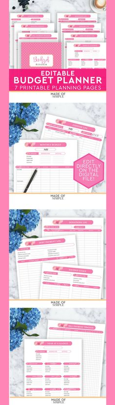 Printable budgeting pages to help keep track of bill payment, savings, expenses, donations and several others!  #ad #budgeting #budget #planner #Printable