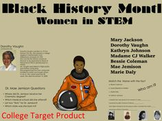 Excellent product showcasing Black women in STEMIncludes women from  Hidden FiguresShort passages with questionsIncludes MatchingUse this product as as a supplement for Black History in order to highlight women who played major roles in American History.