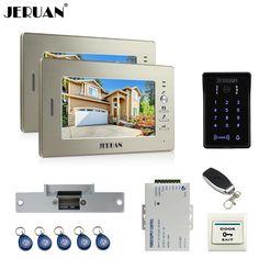JERUAN 7`` LCD video doorphone intercom system 2 monitor RFID waterproof Touch Key password keypad camera remote control unlock