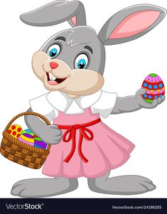 Cartoon easter bunny girl with a basket of egg Vector Image - Hase Cartoon Cartoon, Cartoon Characters, Easter Bunny Pictures, Cute Rainbow Unicorn, Egg Vector, Easter Bunny Decorations, Mermaid Blanket, Easter Crafts For Kids, Baby Disney