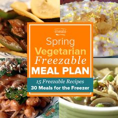 "Our Spring Vegetarian Freezer Menu keeps things simple with plenty of easy assembly or ""throw and go"" freezer meals to help keep home cooking doable!"
