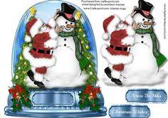 Lovely Snow glob Santa dressing the snowman  on Craftsuprint - Add To Basket!
