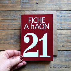 21  Fiche A hAon card,  Irish twenty one card
