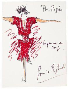 RYKIEL Sonia (née 1930) 12 DESSINS originaux dont 9 signés ou dédicacés à Régine DEFORGES, et 1 lettre autographe signée, 1977-2009 et s.d.; sur des feuillets de formats divers, une enveloppe. Croquis… - Pierre Bergé & associés - 11/02/2015