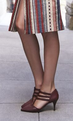 Flattering Mid Heels with Triple Straps and  Easy Back Zipper in Deep Cranberry