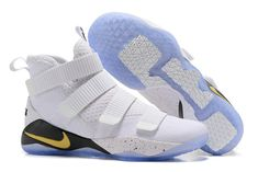 ea3865c32bb Nike Lebron Soldier Wholesale Nike LeBron Soldier 11 White Black Gold  Basketball Shoe For Sale