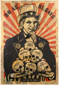 ☯☮ॐ American Hippie Psychedelic Art ~ Uncle Sam Skulls - OBEY Shepard Fairey street artist . . revolution OBEY style, street graffiti, illustration and design posters.