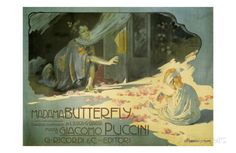 """Madama Butterfly, c.1904 Art by Adolfo Hohenstein at German Art Nouveau master Adolpho Hohenstein (1854 – 1928) advertised the drama of the 19th century Italian opera with equally dramatic posters. Hohenstein was so immersed in the Italian spirit that he was nicknamed """"Father of the Italian Poster."""""""