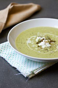 Creamy asparagus soup with goat milk