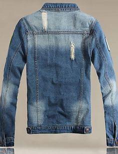 Men's Print Long Sleeve Jacket , Cotton/Denim Casual/Plus Sizes 4209448 2016 –…