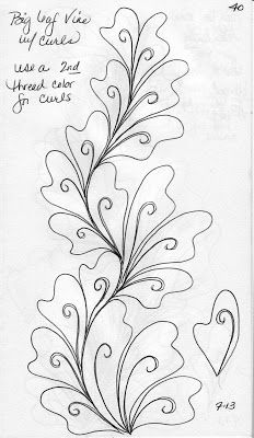 LuAnn Kessi: Quilting Sketch Book…Big Leaf Vines is creative inspiration for us. Get more photo about diy home decor related with by looking at photos gallery at the bottom of this page. Quilting Stencils, Quilting Templates, Longarm Quilting, Free Motion Quilting, Quilting Tutorials, Hand Quilting, Quilting Ideas, Modern Quilting, Quilting Stitch Patterns