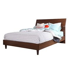 Guest room - $350 - South Shore 60-Inch Olly Mid-Century Modern Platform Bed with Headboard , Queen, Brown Walnut South Shore