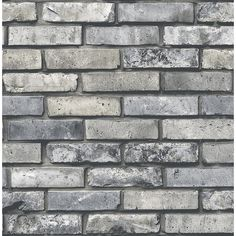 Brewster Wallcovering Co Painted Brick Grey Brick Wallpaper, - -. This Grey brick wallpaper is the industrial chic print you've been waiting for. The intricate print allows each brick to have a unique look with varying amounts of distressing and coloring. Grey Brick Houses, Faux Brick Walls, Brick Fireplace, Painted Brick Houses, Brick Siding, Red Brick Wallpaper, Stone Wallpaper, Painted Wallpaper, Brick Colors