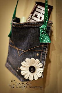 "The Pocket~ Jen just cut a back pocket off of the jeans (leave the back of the pants on when you cut so you have a full pocket to hold the treats).  Then hand sew the ribbon knots onto the pocket.  Hot glue on some embellishments...like flowers and jewels.  Stuff it with some goodies and a note that says ""A Pocket Full of Wishes from [child's name] to You!"" and you are done!  Isnt it cute and easy to do?"