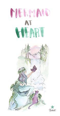 Mermaid at Heart Artwork - Mermaid Quote - www.seatailshop.com
