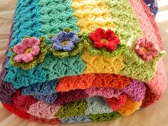 Striped & Floral Crochet Throw