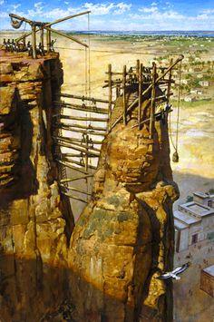 The ancient Kushites using scaffolding by James Gurney