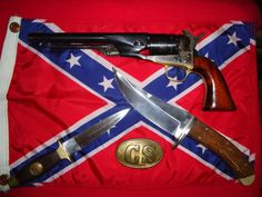 1860 Army Colt .44, Confederate States belt buckle,  ca. 1860 Bowie knives...