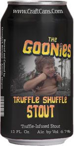"""A couple years ago we put together a """"Canned Tribute to The Goonies"""" for the 25th Anniversary of one of our favorite movies. It included Truffle Shuffle Stout, Willy's Gold, Pinchers of Peril IPA and of course """"Hey You Geuze""""...if only these were real."""