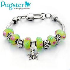 #pugster charm bracelet # murano glass beads # heart lock chain # pandora style charms woman's #fashion #gift