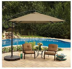 8 Foot Square Cantilever Umbrella Vented Tilting Canopy Great For A Balcony - Deck - Patio Or Indoor Outdoor Pool Includes Cross Umbrella Stand On Sale Destination Summer