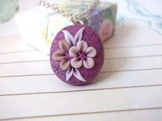 Beautiful polymer clay flower pendant, one of a kind, hand crafted, pink by BeadyizeJewellery on Etsy