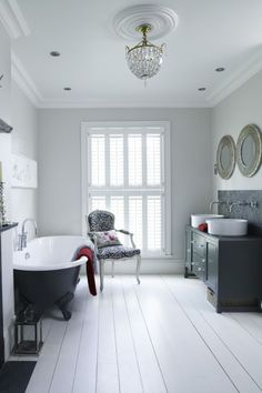 Monochrome interior decor can be striking, add hints of colour to bring it to life with hints of metallic to add a luxury feel. Wooden Shutter Blinds, Wooden Shutters, Waterproof Blinds, Cottage Interiors, White Interiors, White Shutters, Made To Measure Blinds, Monochrome Interior, Bathroom Interior