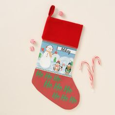 Ho Ho Ho Snowman and Penguin Christmas Stocking - christmas stockings merry xmas cyo family gifts presents