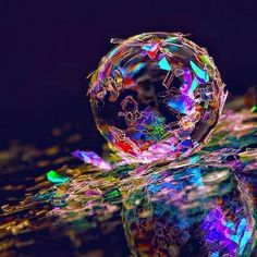 sparkles plus black light on bouncyball  possibly . ? i have no idea . . . buttttttttt it's pretty cool . . . psychedelic trippy art and stuff