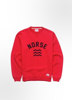 Norse Projects Visby Sweat in Red.  Norse store:
