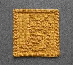 OWL Knit Dish Cloth, Gold Cotton Face Cloth, Shower Hostess Gift, Mountain Lodge Decor, Woodland Animal Dishcloth