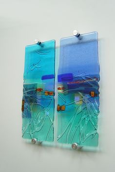 'Tapestry Land' kiln-formed glass panels by www.kimbramley.co.uk