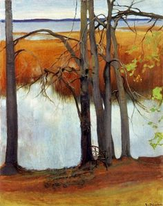 Lake Shore with Reeds , 1905 Eero Järnefelt Finnish, Oil on canvas, x cm Ateneum Art Museum, A II 798 Landscape Art, Landscape Paintings, Helene Schjerfbeck, Nordic Art, Watercolor Trees, Tree Art, Contemporary Artists, Art Museum, Illustration
