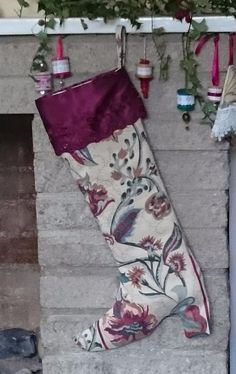 Luxury Christmas boot stocking to conceal that special gift: Floral/dark red