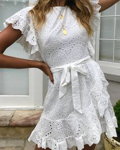 Image may contain: one or more people and people standing Simple Dresses, Cute Dresses, Casual Dresses, Short Dresses, Fashion Dresses, Summer Dresses, Little White Dresses, White Outfits, Grad Dresses